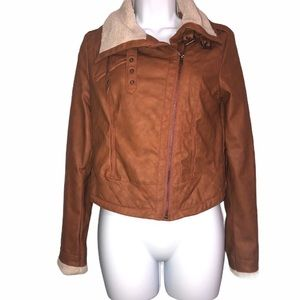 Brown leather jacket with buckles and white fur
